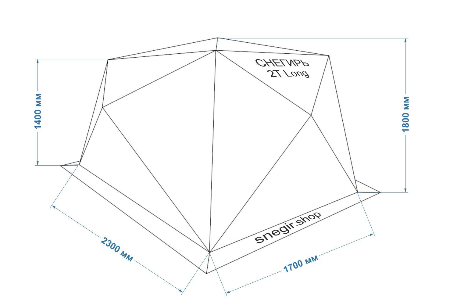Схема с размерами палатки Снегирь 2Т Long