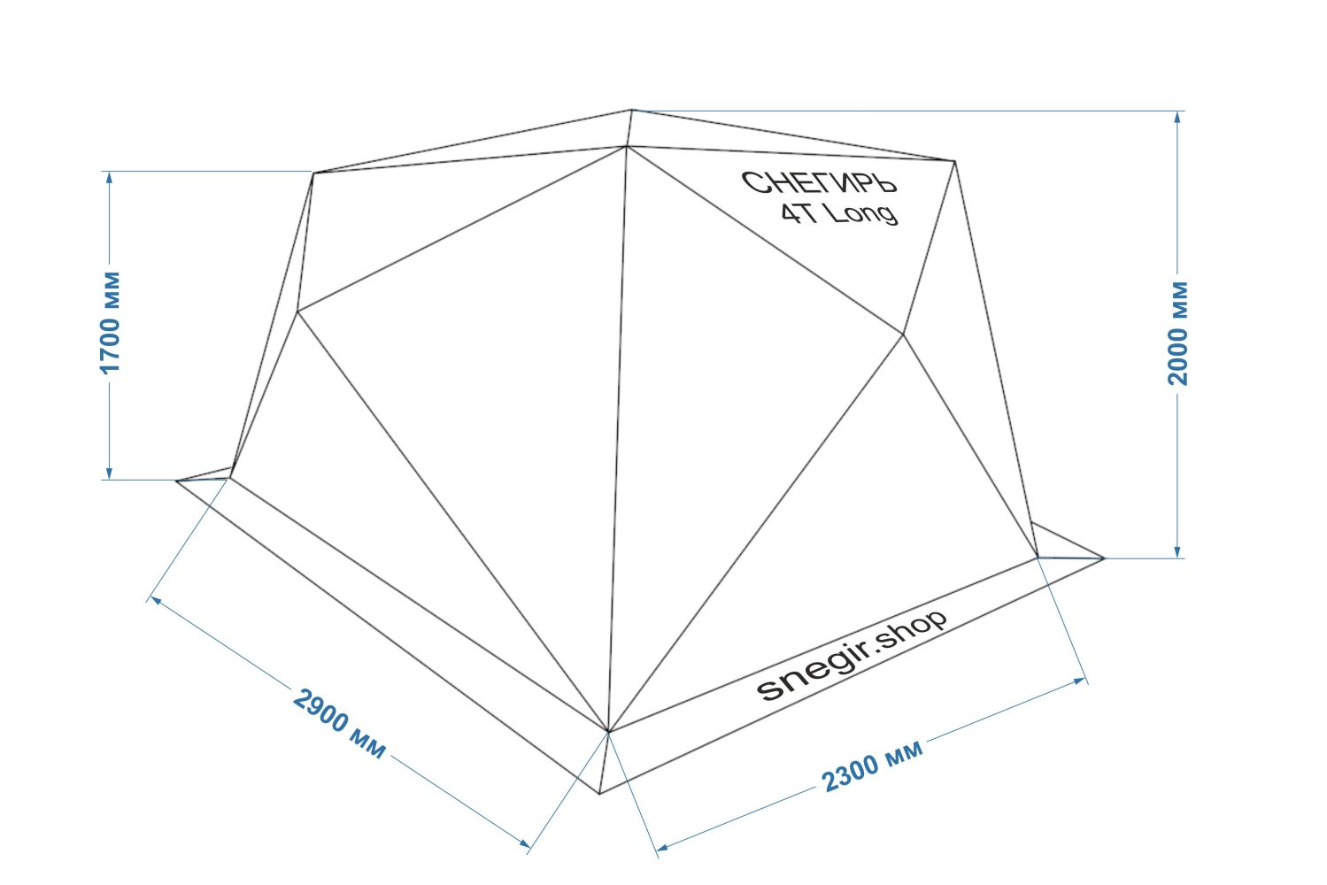 схема с размерами палатки Снегирь 4Т Long Компакт