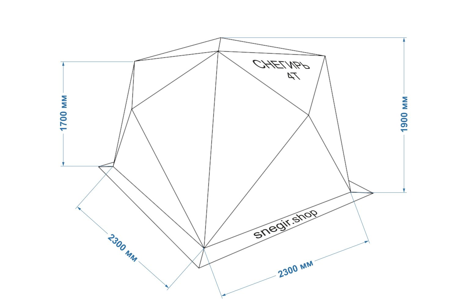 Схема размеров палатки Снегирь 4Т